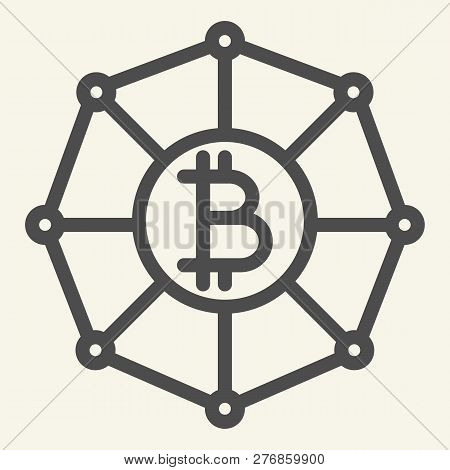 Blockchain World Line Icon. Cryptocurrency Network Vector Illustration Isolated On White. Cryptocurr