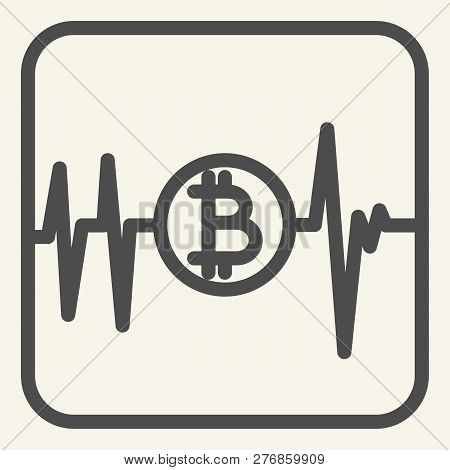 Pulse Bitcoin Line Icon. Cryptocurrency Chart Vector Illustration Isolated On White. Bitcoin Graph O