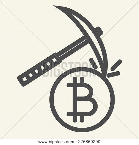 Cryptocurrency Mining Line Icon. Crypto Pickaxe Vector Illustration Isolated On White. Bitcoin Minin
