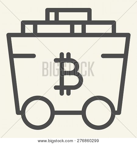 Bitcoin Mining Cart Line Icon. Crypto Carriage Vector Illustration Isolated On White. Bitcoin Transp