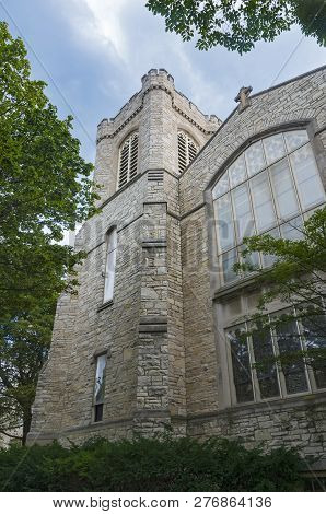 Gothic Style Church Exterior Wall Windows And Tower In Milwaukee Wisconsin