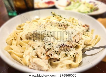 Chicken Alfredo Pasta with Cheese. Selected focus, Italian Alfredo pasta. Pasta made in Italian restaurant called Alfredo. Cheese Alfredo Pasta.
