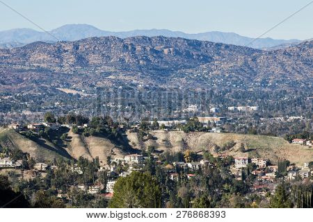 Clear view of Woodland Hills, West Hills, San Fernando Valley and the Santa Susana Mountains in Los Angeles, California.