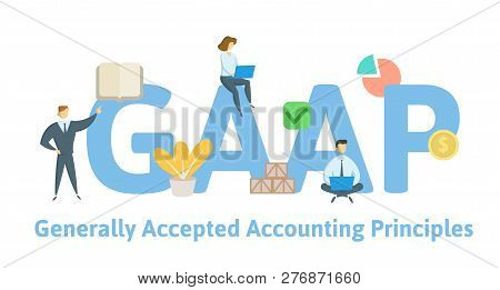 Gaap, Generally Accepted Accounting Principles. Concept With Keywords, Letters And Icons. Flat Vecto