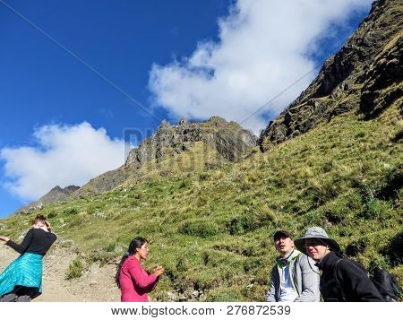 Salkantay, Trail, Cusco Province, Peru - May 8th, 2016: A Young Group Of International Hikers, Led B