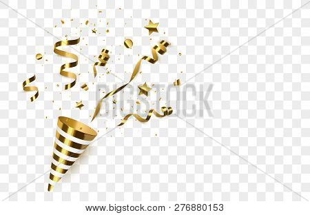 Golden Confetti With Party Poppers Isolated. Confetti Burst. Vector Illustration