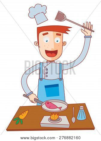 Illustration Of A Chef Cooking A Fish
