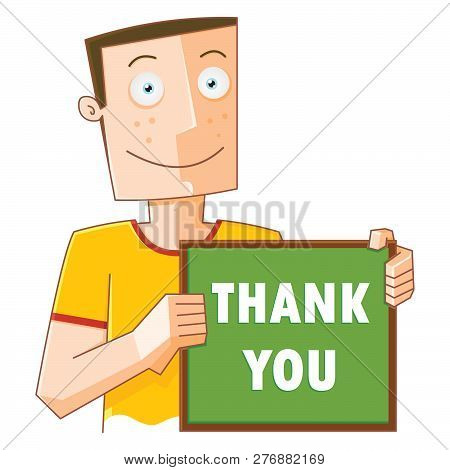 Illustration Of A Happy Man With Thank You Board