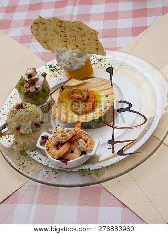 Platter With Assorted Colorful Fresh Cooked Seafood.