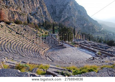 The Beautiful Ancient Theater In Delphi, Greece