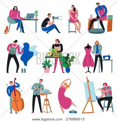 Creative Workers Set With Painter Florist Photographer Sculptor Designer Musician Dancer Isolated On