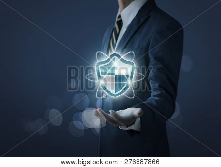 Cyber Security, Internet Security Or Information Protection Service Concept. Businessman Is Holding