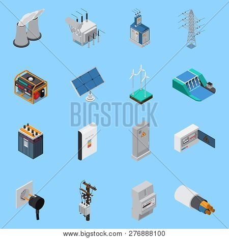 Electricity Isometric Icons Set With Cable Solar Panels Wind Hydro Power Generators Transformer Sock