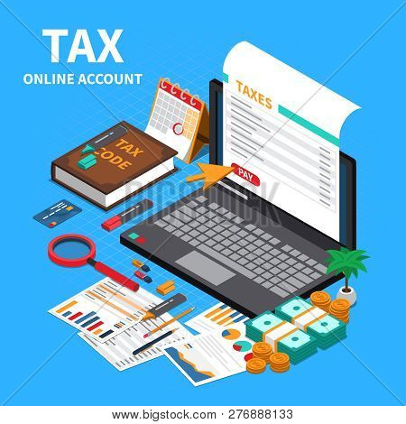 Tax Statement On Web Isometric Composition With Laptop Screen Online Account Code Specifications Han