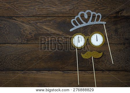 Table Top View Of Wedding Celebrate Decorations & Happy New Year 2019 Ornaments Concept.flat Lay Ess