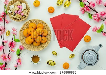 Chinese Language Mean Rich Or Wealthy And Happy.top View Decoration Chinese New Year & Lunar New Yea