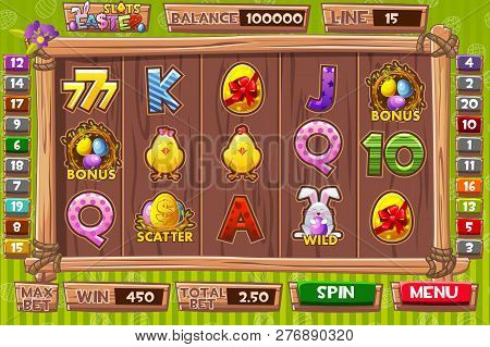 Vector Interface Slot Machine In Cartoon Wooden Style For Easter Holiday. Complete Menu Of Graphical