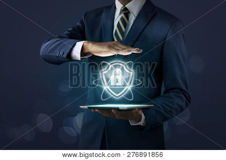 Cyber Security, Internet Security Or Information Protection Service Concept. Businessman Is Showing