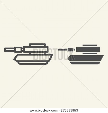 Tank Line And Glyph Icon. Panzer Vector Illustration Isolated On White. Machine Outline Style Design