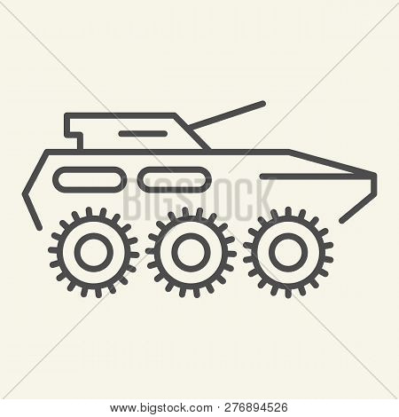Armored Troop-carrier Thin Line Icon. Armored Vehicle Vector Illustration Isolated On White. Artille