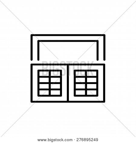 Black & White Illustration Of Old Louver Cafe Style Window Shutter. Vector Line Icon Of Wooden Vinta