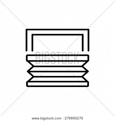 Black & White Vector Illustration Of Pleated Bottom Up Shades Blinds. Line Icon Of Window Horizontal