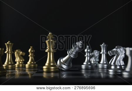Chess (king Wins The Game) On Black Background. Success, Business Strategy, Victory, Win, Winner, Ch