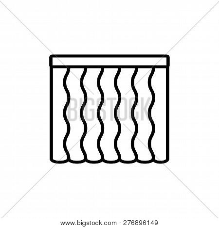 Black & White Vector Illustration Of Wave Shape Curtain Shutter. Line Icon Of Window Vertical Blind