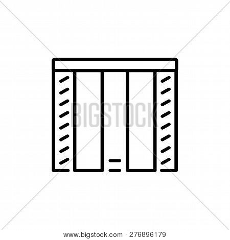 Black & White Vector Illustration Of Combi Japanese Curtain Shutter. Line Icon Of Window Vertical Bl