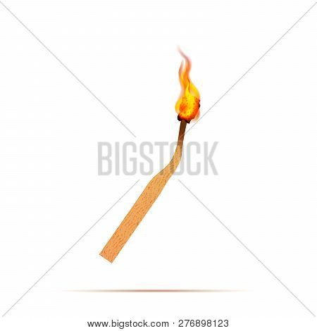 Realistic Match With Fire Flames On White