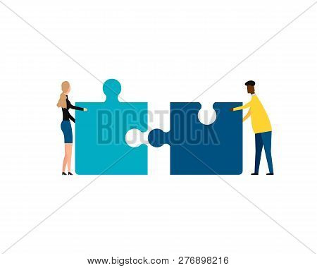 Business Concept. Teamwork Metaphor. Two Businessmen Connecting Puzzle Elements. Isolated On White B