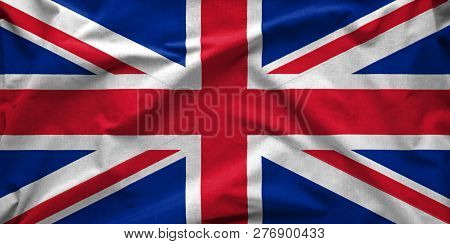 Union Jack Wide Silk Flag Of The United Kingdom Of Great Britain And Northern Ireland Blowing In The