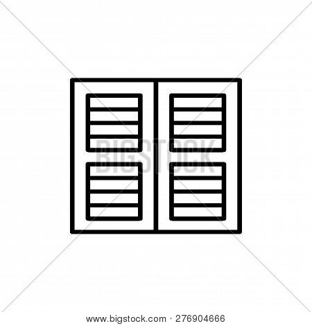 Black & White Illustration Of Old Louver Plantation Window Shutter. Vector Line Icon Of Wooden Vinta