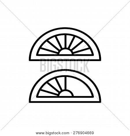 Black & White Vector Illustration Of Pleated Shades Blinds. Line Icon Of Arch Window Curtain Jalousi