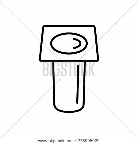 Black & white vector illustration of underground path spotlight. Line icon of outdoor light fixture. Isolated object on white background poster