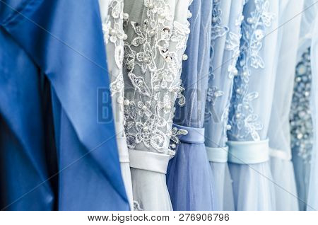 Evening Dresses On Hangers. Art Of Couture. Dresses For Balls And Celebrations