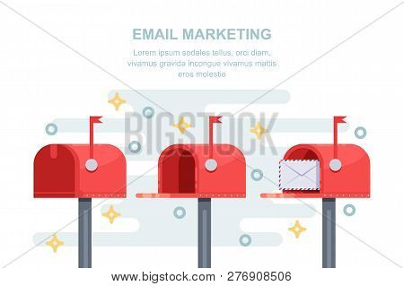 Mail And Email Marketing Strategy Business Concept. Closed And Open Red Letterbox With Message In En