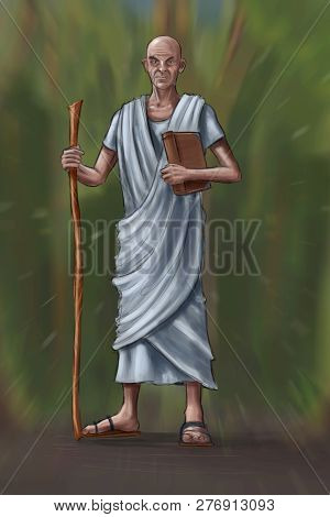 Concept Art Fantasy Digital Painting Or Illustration Of Old Man Or Priest Or Philosopher With Book A