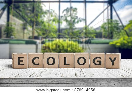 Ecology Sign On A Wooden Table In A Greenery With Fresh Green Plants