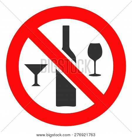 Forbidden Wine Drinks Vector Icon Symbol. Flat Pictogram Is Isolated On A White Background. Forbidde