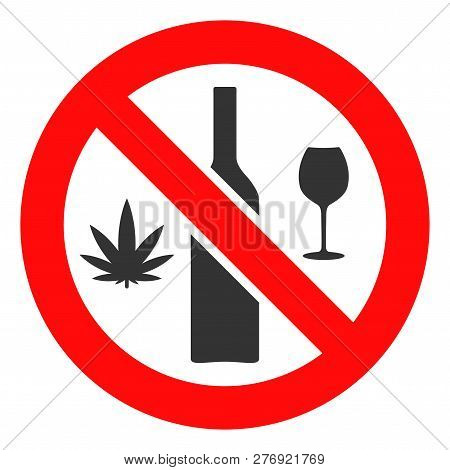 Forbidden Wine Drugs Vector Icon Symbol. Flat Pictogram Is Isolated On A White Background. Forbidden