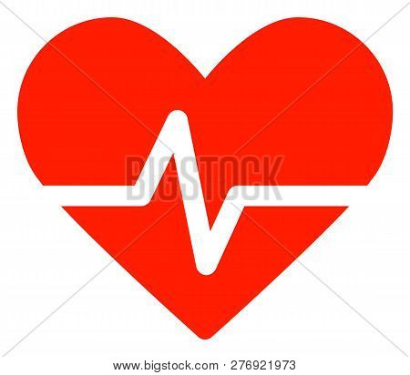 Heart Pulse Vector Icon Symbol. Flat Pictogram Is Isolated On A White Background. Heart Pulse Pictog