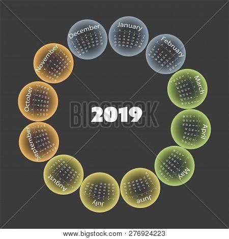 Dark Colorful Year 2019 Calendar Card Design Template