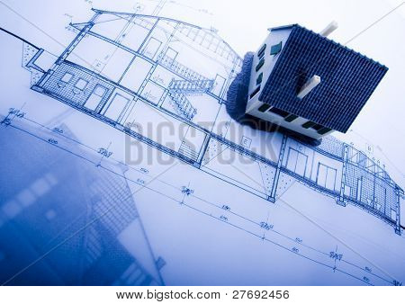 Close up of a blueprint