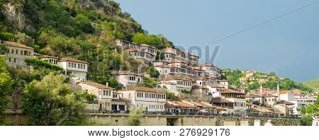 High Angle View Landscape From The Ancient Castle Of The Historic Town Of Berat In Albania