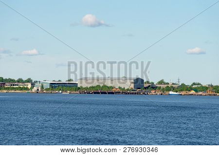 View Of The Industrial Part Of The Village Village Of Rabocheostrovsk, Kem. View From The White Sea,