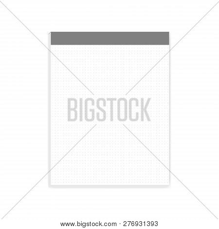 White Dot Grid Note Paper Block, Realistic Vector Mock-up. Letter Size Writing Pad With Tear Off She