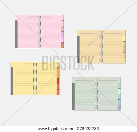Open Spiral Notebook With Color Pages And Tab Dividers, Mockup Set. Wire Bound Multicolored Lined No