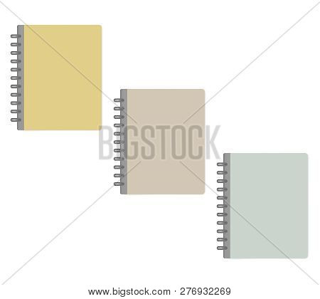 Closed Letter Size Discbound Notebook, Mock-up. Pastel Color Covers, Template Set. Disc Bound Note B