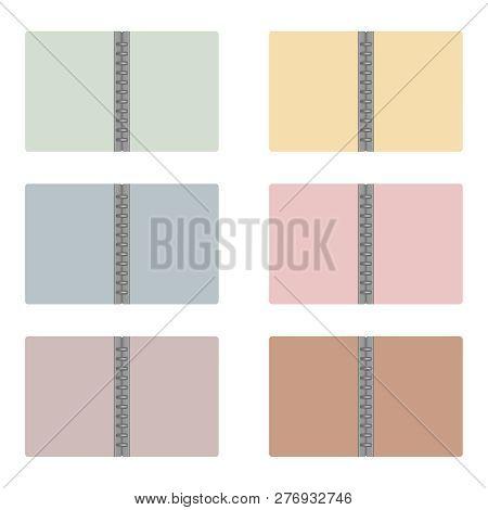 Open Letter Size Refillable Disc Bound Notebook Folder, Pastel Color Mock-up Set. Multicolored Empty